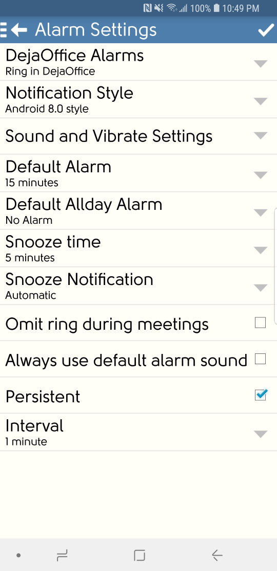 DejaOffice Alarm Settings