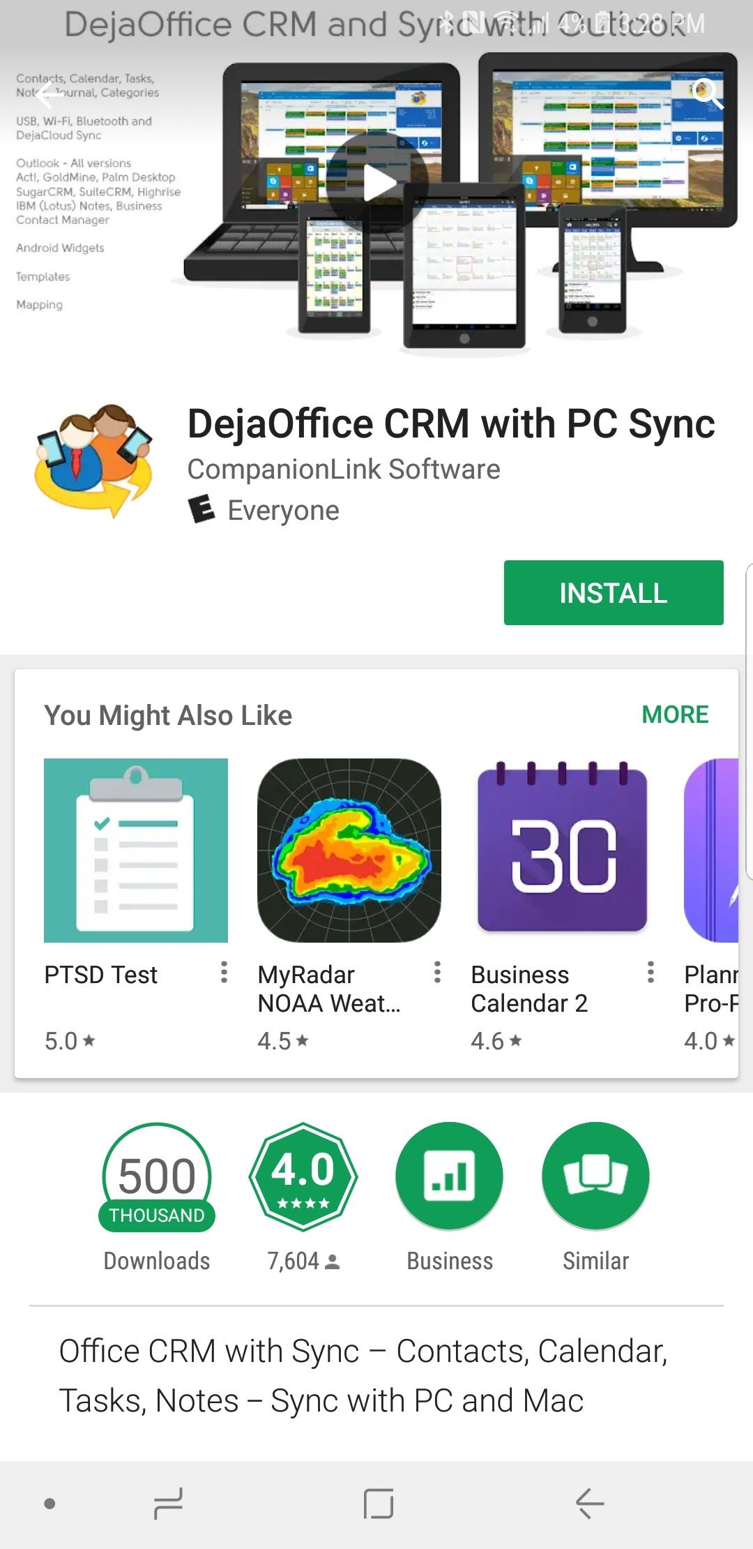 Download DejaOffice from the Google Play Store
