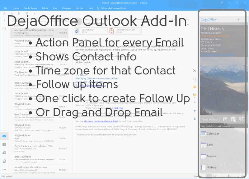 DejaOffice PC CRM Outlook Add-In Detail