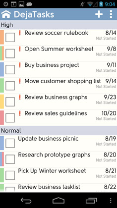 Tasks can be sorted by priority, status or due date