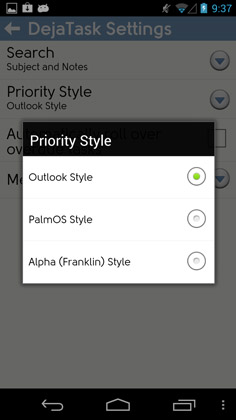 Supports Palm, Outlook, and Franklin Covey task priority styles