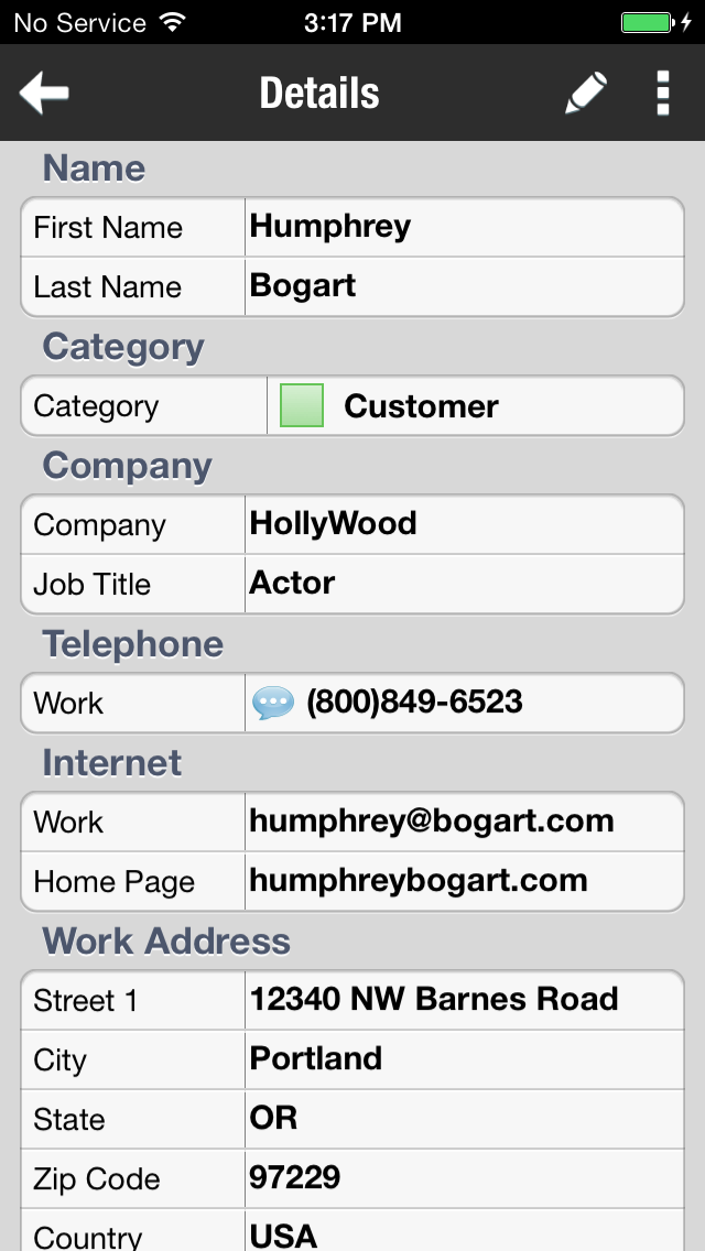 ... categories, navigate back to DejaContacts. Select a contact to edit