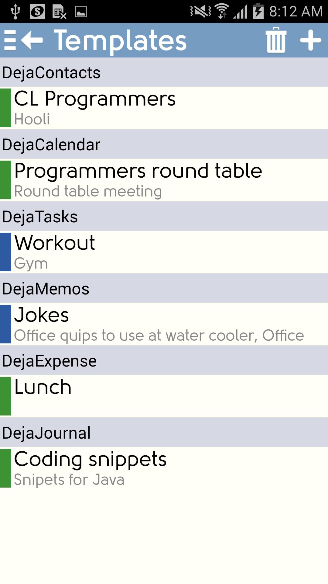 DejaOffice Classroom - Android - Templates